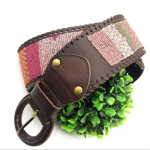 Accessories - Leather boho beaded wide width waist belt